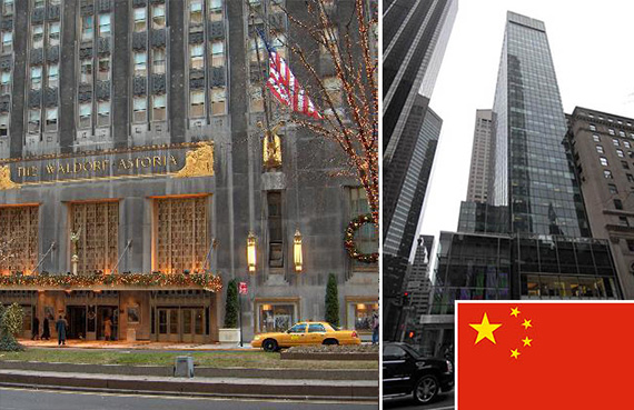 From left: The Waldorf-Astoria and 717 Fifth Avenue (inset: Chinese flag)
