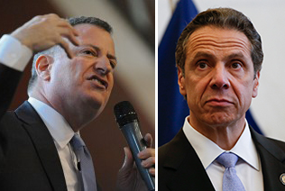 From left: Bill de Blasio and Andrew Cuomo