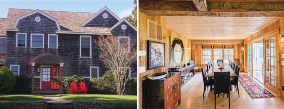 From left: Bethenny Frankel's 346 Lumber Lane and LuAnne de Lesseps' Bridgehampton house