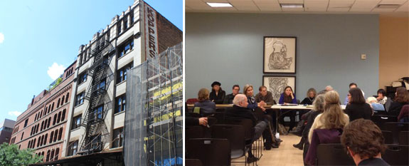 30 Clarkson Street in the West Village and a community board meeting