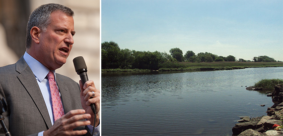 From left: Mayor Bill de Blasio and Spring Creek Park in East New York