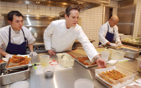 Chef Keller in the kitchen with his staff at Per Se