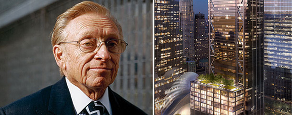 Larry Silverstein and a rendering of 3 World Trade Center (Credit: Silverstein Properties)