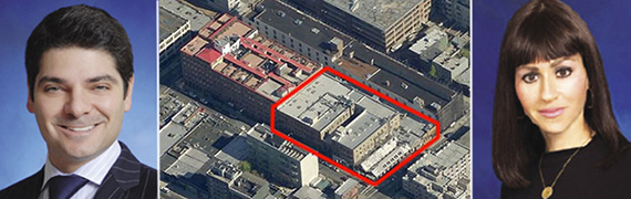 From left: Gabriel Saffioti, an aerial shot of 103-119 North 3rd Street and Nicole Rabinowitsch