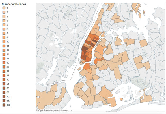 A map of NYC's art galleries