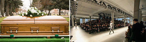 A coffin and a fashion event and Skylight Clarkson Sq