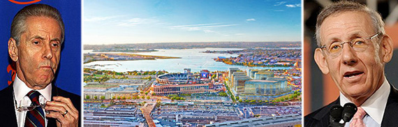 From left: Fred Wilpon, rendering of Willets West in Queens and Stephen Ross