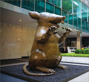 This giant bronze rat was on display at Aby Rosen's Lever House until a few months ago.