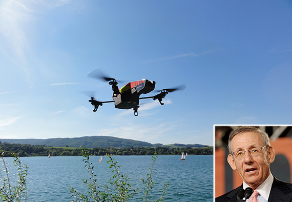 An unmanned flying drone (inset: Stephen Ross)