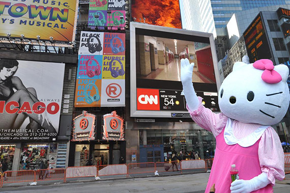 1565 Broadway and a Hello Kitty mascot