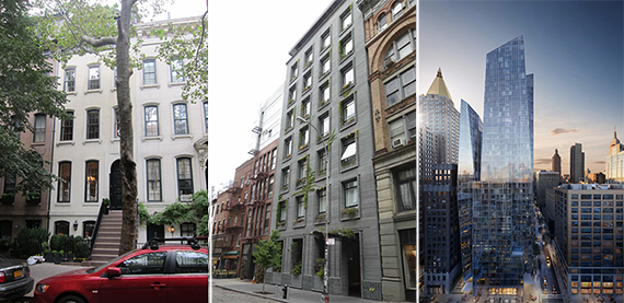 From left: 167 East 71st Street, 41 Bond Street and a rendering of 400 Park Avenue South