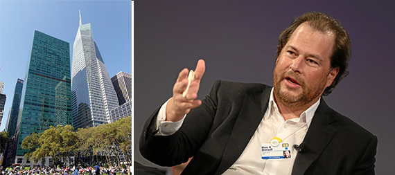 From left: 3 Bryant Park and Salesforce CEO Marc Benioff