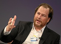 DAVOS/SWITZERLAND, 24JAN13 - Marc R. Benioff, Chairman and Chief Executive Officer, Salesforce.com, USA; Young Global Leader Alumnus gestures while speaking during the session 'Enterprise Dynamism - Unleashing Entrepreneurial Innovation' at the Annual Meeting 2013 of the World Economic Forum in Davos, Switzerland, January 24, 2013.  Copyright by World Economic Forum  swiss-image.ch/Photo Moritz Hager
