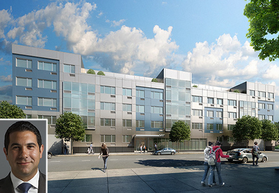 Rendering of 1209 DeKalb Avenue in Bushwick (inset: