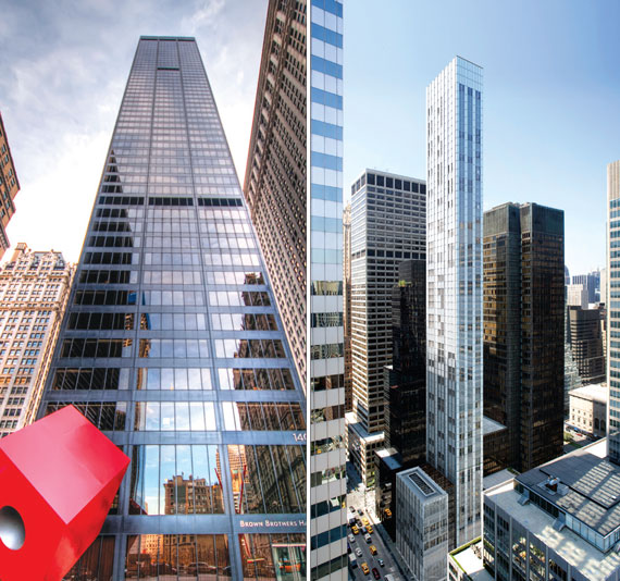 From left: 140 Broadway in the Financial District and 610 Lexington Avenue