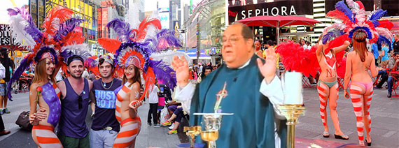 Times Square pedestrian plaza (credit: Steven Pisano/Flickr) and the Rev. Peter Colapietro