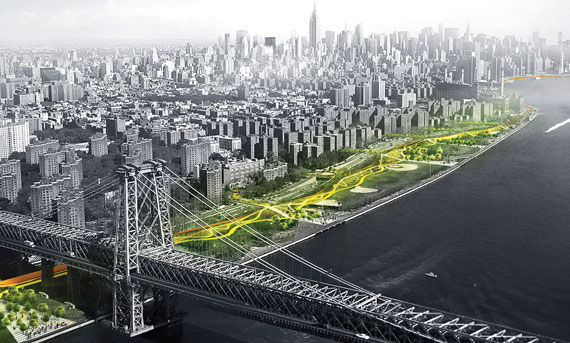 """""""Dryline"""" will stretch from East 23rd Street to just south of the Williamsburg Bridge. The barrier is part of a bigger project to protect Manhattan from future floods."""