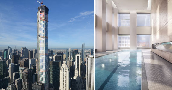 From left: 432 Park Avenue when it topped out last year and a view of it's 75-foot indoor swimming pool
