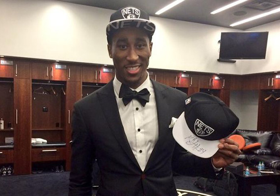 Brooklyn Nets rookie Rondae Hollis-Jefferson at the 2015 NBA Draft at Barclays Center