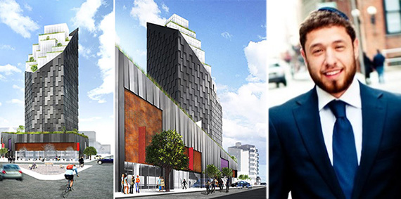 Renderings of Yotel Williamsburg at 646 Lorimer Street (credit: HWKN) and Dovi Lesches