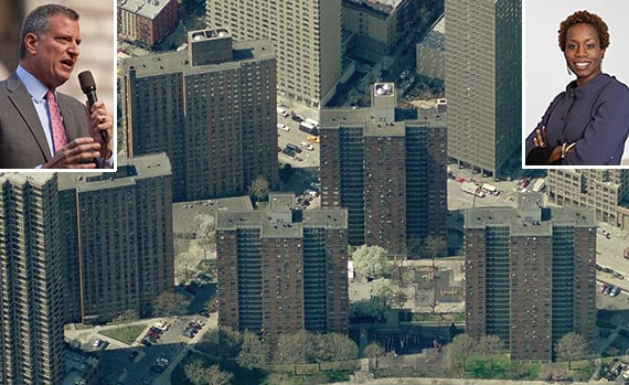 Holmes Towers on the Upper East Side (inset: Bill de Blasio and )