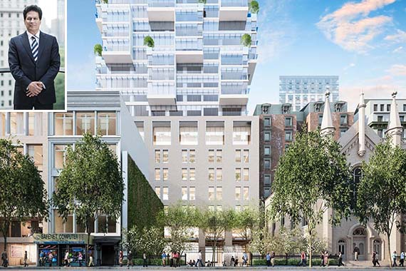 Rendering of Moshe Safdie HFZ tower at 8-16 West 30th St. for Business.