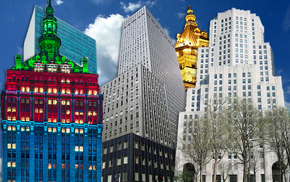 Back row, from left: 1095 Sixth Avenue and the Crown Building. Front row, from left: The Helmsley Building, the Mobil Building and 11 Madison Avenue