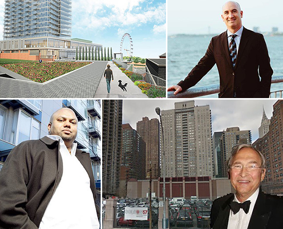 Clockwise from the top left: a rendering of Lighthouse Point in Staten Island, David Kramer, Shelden Solow and 685 First Avenue, and Shibber Khan