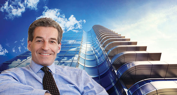 Jim Stanton and a rendering of 252 East 57th Street (credit: SOM)