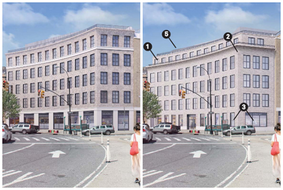 From left: Original rendering of the Pavilion Theater condo conversion in Park Slope and the revised plans (credit: Hidrock)