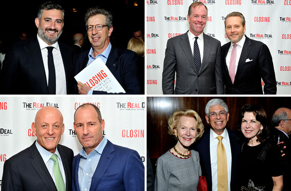 Clockwise, from top left: Amir Korangy and Bill Rudin, Paul Massey and Bob Knakal, Ofer Yardeni and Chris Schlank, Elizabeth Stribling and Jay and Arlene Neveloff