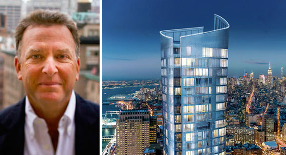 Steve Witkoff and a rendering of 111 Murray Street in Tribeca