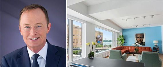 Simon Hobbs and the apartment at 459 West 18th Street (Credit: Douglas Elliman)