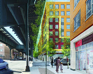 A rendering of Livonia Commons in East New York (credit: L+ M Partners)