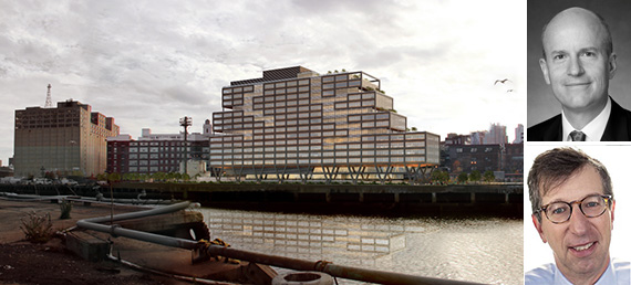 Rendering of WeWork building at the Brooklyn Navy Yard (credit: S9 Architecture) (inset: Boston Properties CEO Owen Thomas, top, Rudin Management chairman Bill Rudin, bottom (credit: STUDIO SCRIVO)) - See more at: http://therealdeal.com/blog/2015/07/30/cant-fuggedaboutit-boston-properties-bullish-on-brooklyn/#sthash.1fZ4rfTs.dpuf