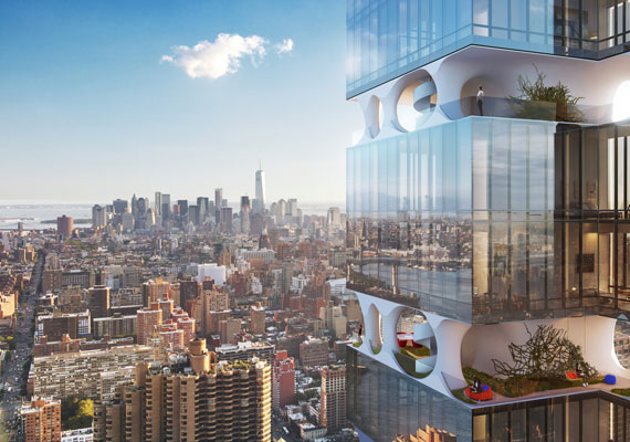 A rendering of 303 East 44th Street by ODA New York