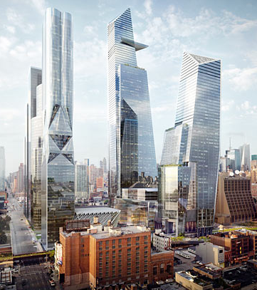 A rendering of Hudson Yards New York.