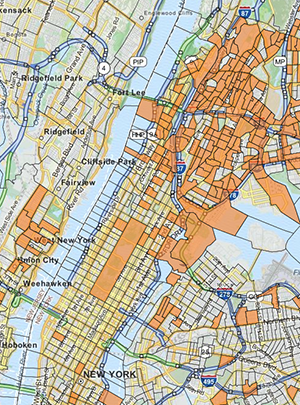 New York City map with TEAs shown in orange (Credit: EB5 Affiliate Network)