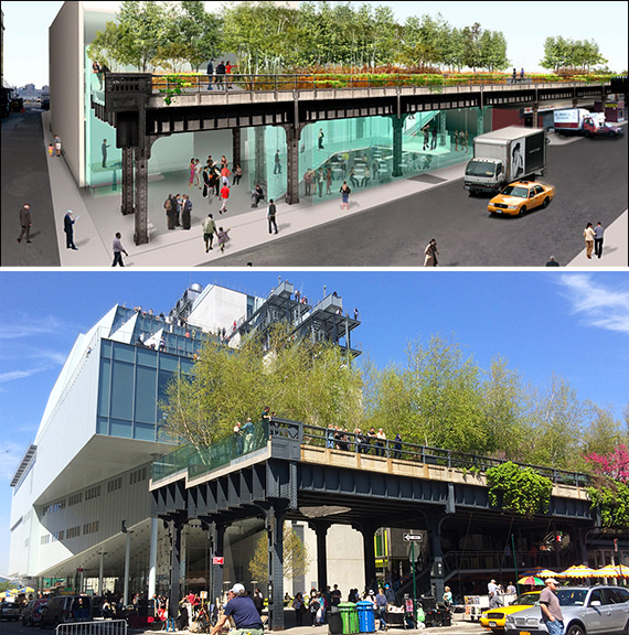 An early rendering of the High Line (top) and the new Whitney Museum (credit: Hyperallergic.com)