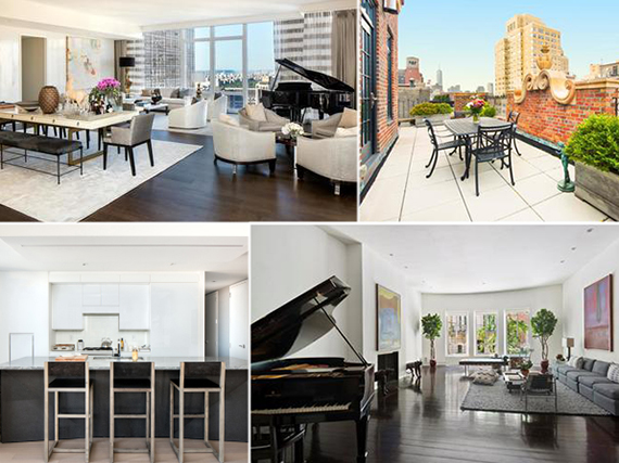 Clockwise from top left: Baccarat Residences, 28 East 10th Street, 17 East 73rd Street and 400 Park Avenue South