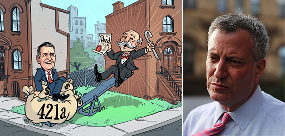 A illustration of 421a's beneficiaries (credit: Noah Patrick Pfarr for The Real Deal) and Bill de Blasio