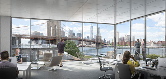A rendering of the office space at Empire Stores