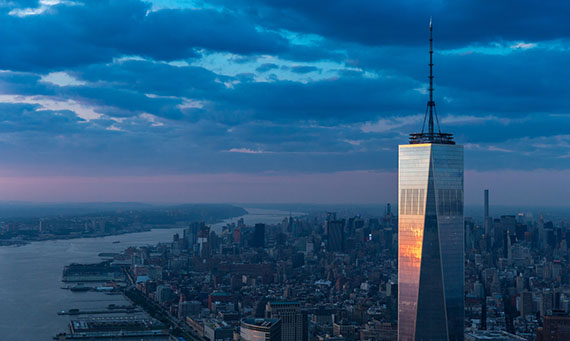 Aerial View of One World Trade Center at sunset, photographed from a helicopter by Evan Joseph