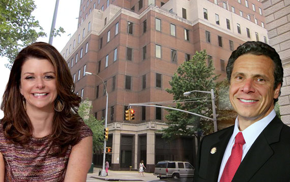 MaryAnne Gilmartin and Andrew Cuomo with 1 Pierrepont Plaza