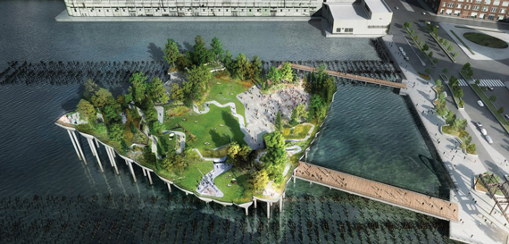 A rendering of Barry Dillet's floating park he wants to build on piers over the Hudson River