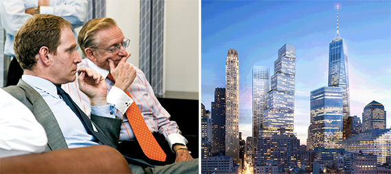 From left: Silverstein Properties' Janno Lieber, Larry Silverstein and a rendering of 2 World Trade Center