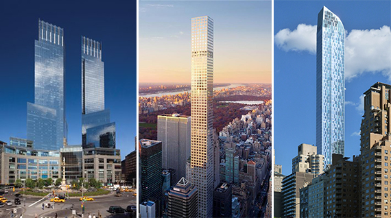 From left: The Time Warner Center in Columbus Circle and 432 Park Avenue and One57,, both in Midtown.