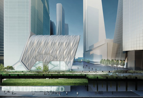 A rendering of the Culture Shed, a planned cultural venue at Hudson Yards