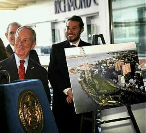 Meir Laufer stands next to then Mayor Michael Bloomberg as the wheel is announced