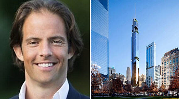 Michael Shvo and a rendering of 125 Greenwich Street (Credit: ArX Solutions)